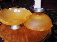 PAIR VINTAGE DECO ORANGE OPAQUE GLASS BOWLS ON CHROME PEDESTAL BASES